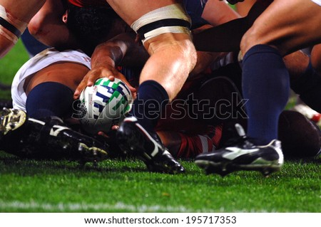 SAINT-ETIENNE, FRANCE-SEPTEMBER 27, 2007: rugby player holds the balls in a scrum, during the rugby match USA vs Samoa, of the Rugby World Cup, France 2007, in Saint-Etienne.