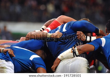 SAINT-ETIENNE, FRANCE-SEPTEMBER-27, 2007: Samoa rugby players scrum during the match USA vs Samoa, of the Rugby World Cup, France 2007, in Saint-Etienne.