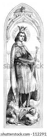Saint Ferdinand of Castile and Saint Adelaide of Hungary, vintage engraved illustration. Magasin Pittoresque 1844.