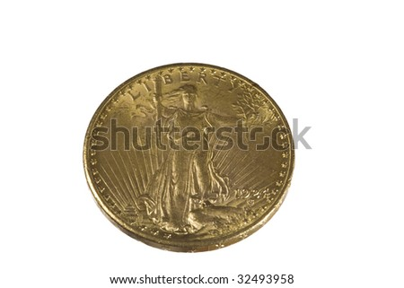 Saint Gaudens Gold Double Eagle coin obverse (front).  Twenty Dollar Gold piece with clipping path.