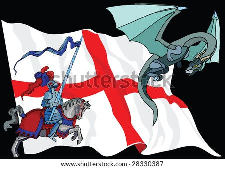 Saint George and Dragon against English Flag