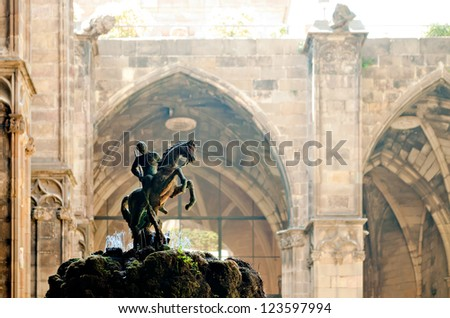 Saint George statue in the Barcelona Cathedral garden, Spain