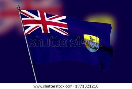 Saint Helena flag - 3D realistic waving flag blurred background Stok fotoğraf ©