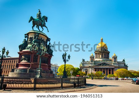Saint Isaac\'s Cathedral and the Monument to Emperor Nicholas I, St. Petersburg, Russia