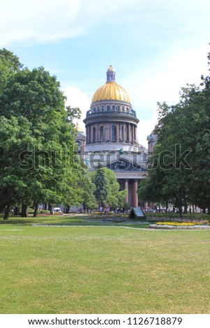 Saint Isaac's Cathedral Scenic View with Local Park Green Grass Lawn in Saint Petersburg, Russia. Famous Travel Landmark, Popular European Tourist Destination, Attracts Many Tourists Every Year. #1126718879