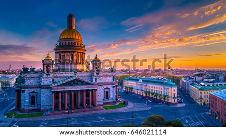Saint Isaac's Cathedral. St. Petersburg. View from Issakievskaya square. The city is in the sunshine. Sunrise.