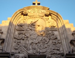 Saint James Matamoros at the lateral entrance of the jesuit church of Arequipa, Peru (Andean baroque)