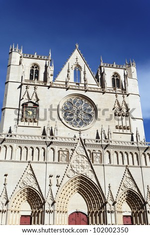 Saint Jean cathedral in Lyon city, France - stock photo