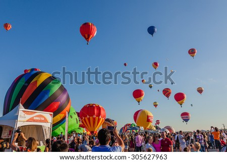 SAINT-JEAN-SUR-RICHELIEU, QUEBEC, CANADA - AUGUST 9, 2015 : 125 kinds of hot air balloons on Montgolfieres - The 8 Hot Air Balloons Festival Fleet in Saint-Jean-Sur-Richelieu, Canada on August 8, 2015 - Shutterstock ID 305627963