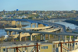 Saint John Harbour Bridge and Throughway in Saint John, New Brunswick, Canada.