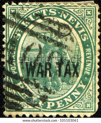 SAINT KITTS AND NEVIS - CIRCA 1903: A stamp printed in St Kitts and Nevis shows Christopher Columbus, circa 1903