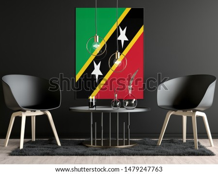 Saint Kitts and Nevis Flag in Room, Saint Kitts and Nevis Flag in Photo Frame #1479247763