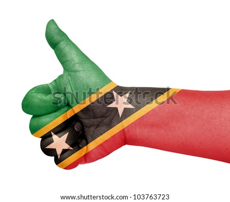 Saint Kitts and Nevis flag on thumb up gesture like icon on white background