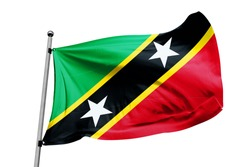 Saint Kitts and Nevis flag waving isolated white background