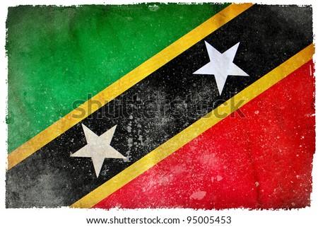 Saint Kitts and Nevis grunge flag