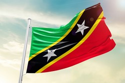 Saint Kitts and Nevis national flag cloth fabric waving on the sky  - Image