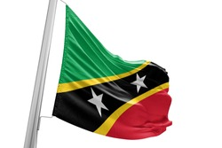 Saint Kitts and Nevis national flag cloth fabric waving on white Background.
