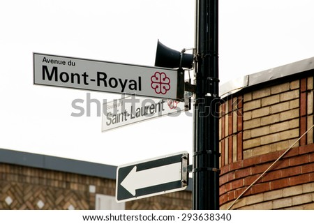 Saint Laurent & Mont Royal Street Signs - Montreal - Canada