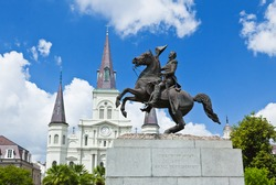 Saint Louis Cathedral and statue of Andrew Jackson in the Jackson Square New Orleans