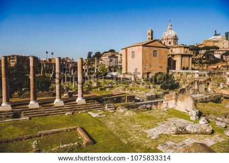 Saint Luca Martina church and Roman Forum ruins in Rome, Italy