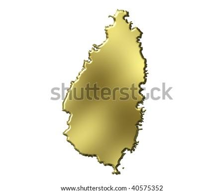 Saint Lucia 3d golden map