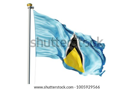 Saint Lucia flag. Isolated 3d Saint Lucia flag
