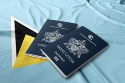 Saint Lucia passport on the flag of Saint Lucia, Caribbean countries