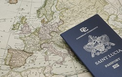 Saint Lucia passport on the geographical map of Europe, citizenship by investment