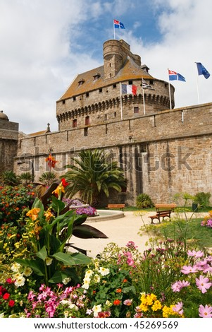 Saint-Malo City Wall & Guard Tower, Brittany, France.