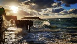 Saint Malo high tide at sundown