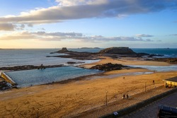 Saint-Malo natural swimming pool and diving at sunset, brittany, France