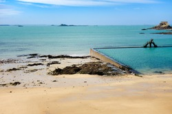 Saint-Malo natural swimming pool and diving, brittany, France