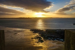Saint-Malo seascape at sunset in brittany, France