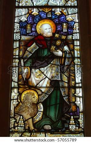 Saint Mark stained glass window A Victorian stained glass window showing Saint Mark with his attribute - a lion.  On public display in Saint Nicholas Church, Chawton, Hampshire