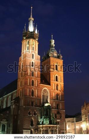 Saint Mary's church by night - Krakow, Poland