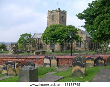 Saint Marys Church and graveyard, Scarborough, England.