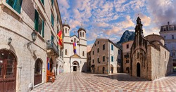 Saint Michael Church and the square in Old Town of Kotor, Montenegro
