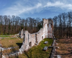 Saint Michael monastery ruins Hungary near by Nagyvazsony city. Ancient ruins from XIII century. Built by Pal Kinizsi. He is a famous hungaryan historical person. Pauline monastery.