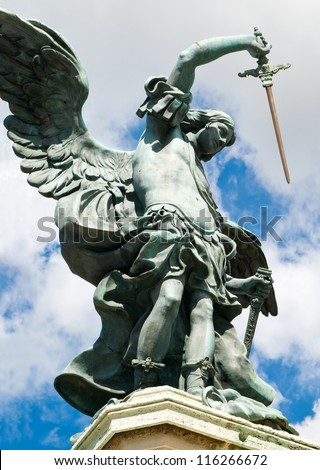 Saint Michael statue at top of Castel Sant'Angelo, Rome