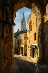 Saint-Émilion village in France a UNESCO World Heritage Site with fascinating Romanesque churches and ruins and narrow streets.