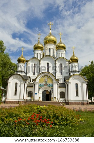 Saint Nicholas cathedral in Saint Nicholas orthodox convent inn town Pereslavl - Zalesskiy, Russia.