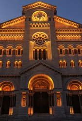 Saint Nicholas Cathedral of Monaco in blue hour