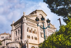 Saint Nicholas Monaco Cathedral.the Roman Catholic cathedral of Our Lady Immaculate in Monaco, Monte Carlo. Fontvieille, Monaco Ville, view from Monaco Ville, luxury apartments.
