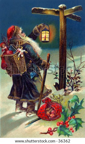 Saint Nicholas on his evening deliveries, checking a sign post - an early 1900s vintage illustration.