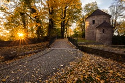 Saint Nicholas Rotunda chapel in Cieszyn, Silesia, Poland during colorful fall