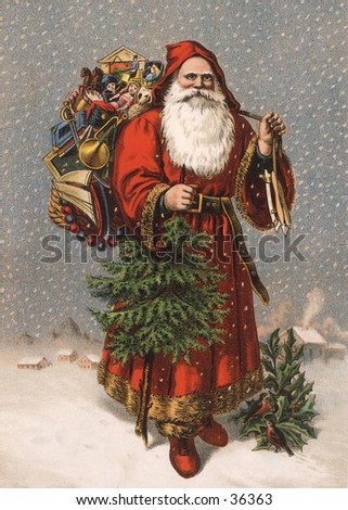 "Saint Nicholas (the original ""Santa"") - an early 1900s vintage illustration."