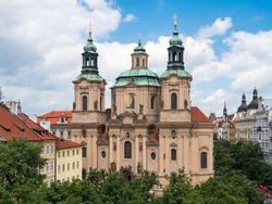 Saint Nicolas Czechoslovak Hussite Church on Old Town Square in Prague, Czech Republic