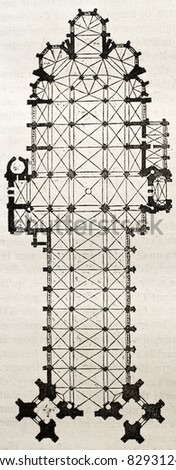 Saint Ouen church old plan, Rouen.  By unidentified author, published on Magasin Pittoresque, Paris, 1840