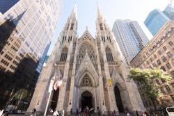 Saint Patrick Church in a sunny day of Autumn. New York City, USA