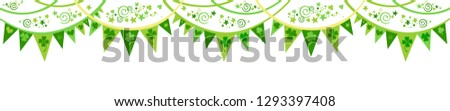 Saint Patrick's Day banner. Flags ornament. For design, print or background. Celebration white background with garland, shamrock and place for your text. Header or banner design with stylish lettering Stock photo ©